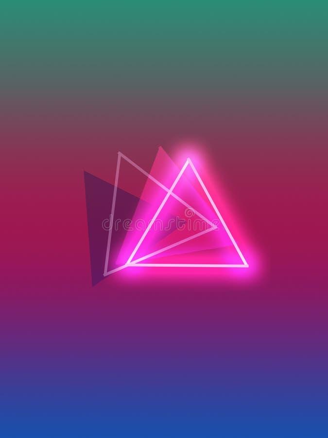 Quatre triangles avec de belles couleurs et néons gentils illustration libre de droits