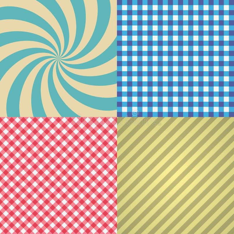 Quatre types de la rétro texture et de modèles eps10 illustration stock