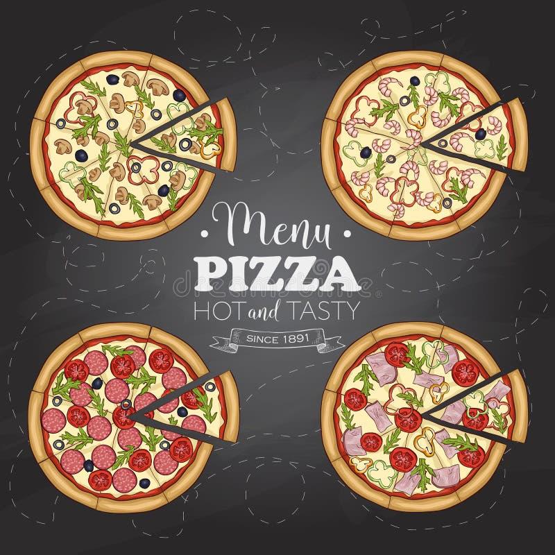 Quatre types de pizza de couleur sur un conseil noir illustration de vecteur