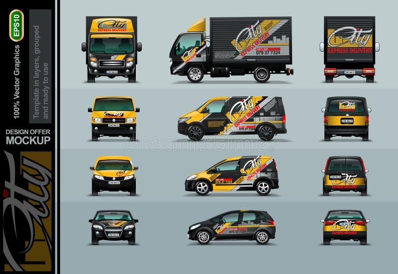 Quatre types de voitures en trois positions Pour l'application de votre publicité La maquette est groupée et prépare pour le chan illustration de vecteur