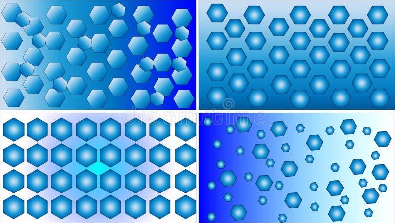 Quatre vecteurs bleus et blancs différents de fond de modèle de polygone illustration de vecteur