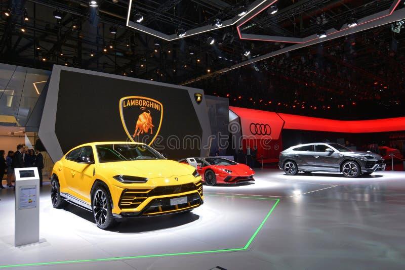 quatre-vingt-dix-huitième Salon de l'Automobile international de Genève 2018 - support de Lamborghini photographie stock