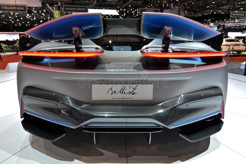 quatre-vingt-dix-neuvième Salon de l'Automobile international de Genève - Pininfarina Battista image stock