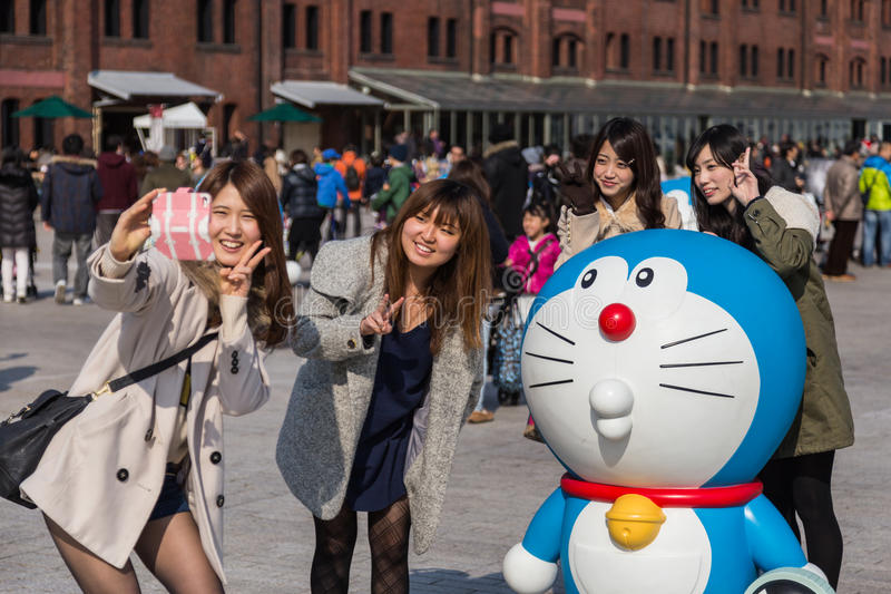 quatre-vingtième anniversaire Doraemon photographie stock libre de droits