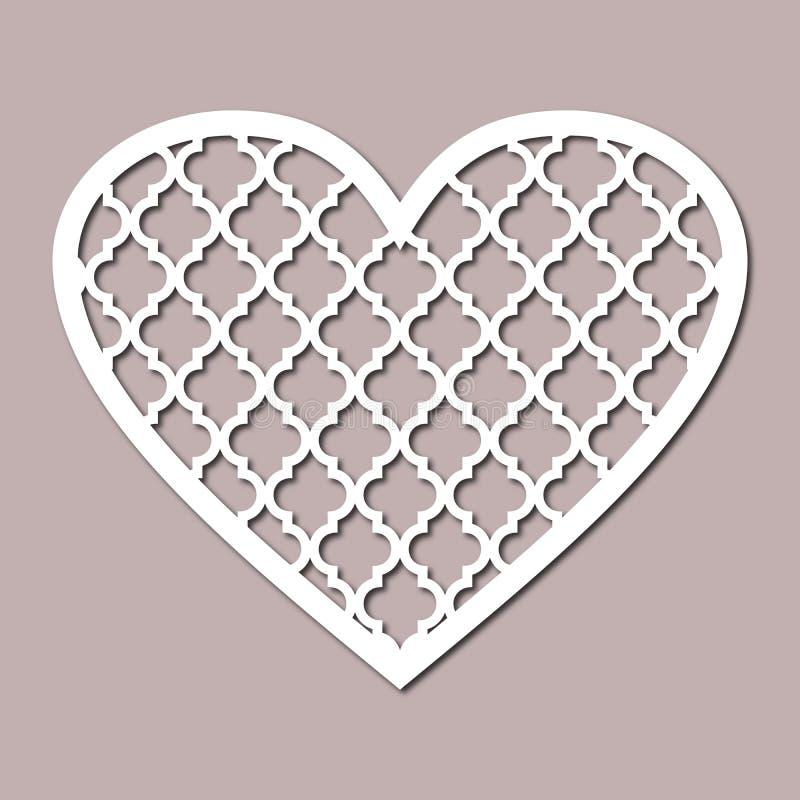 Quatrefoil hjärta för inredesign och för urklippsbok Stencil mall, överföring stock illustrationer