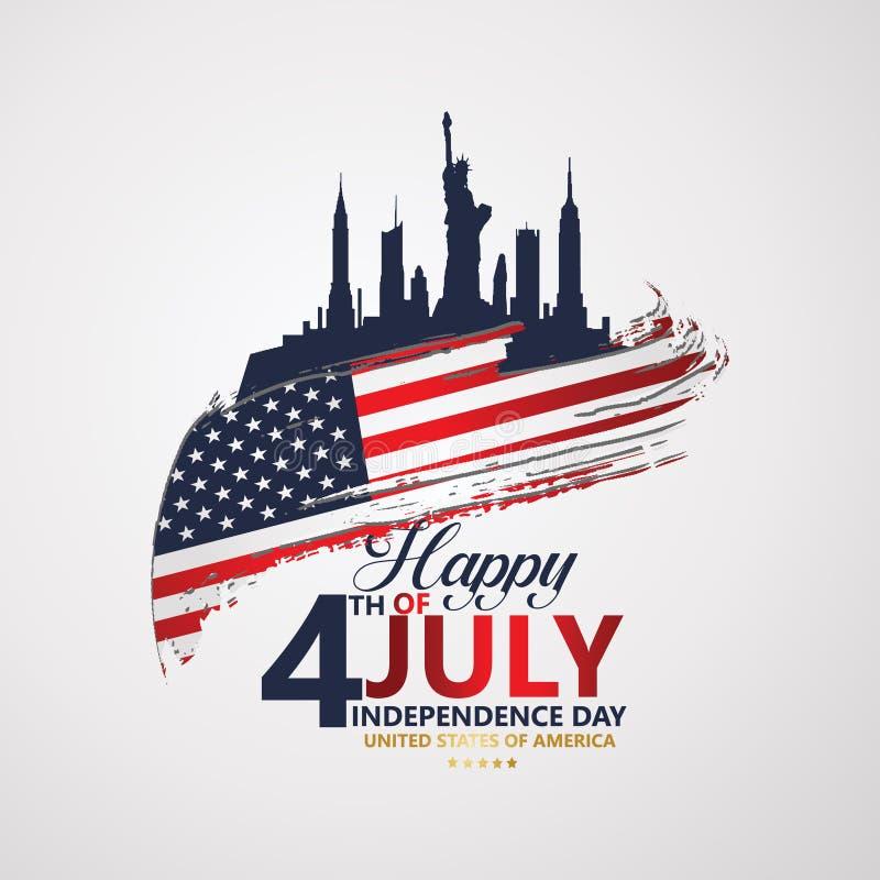 Quatrième de Jour de la Déclaration d'Indépendance de juillet, illustration de vecteur illustration stock