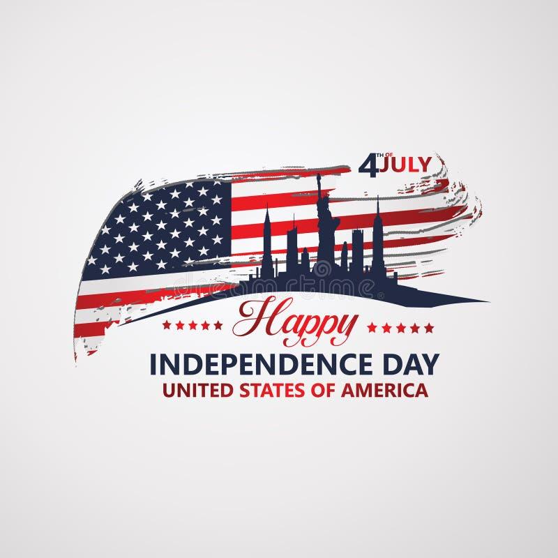 Quatrième de Jour de la Déclaration d'Indépendance de juillet, illustration de vecteur illustration de vecteur