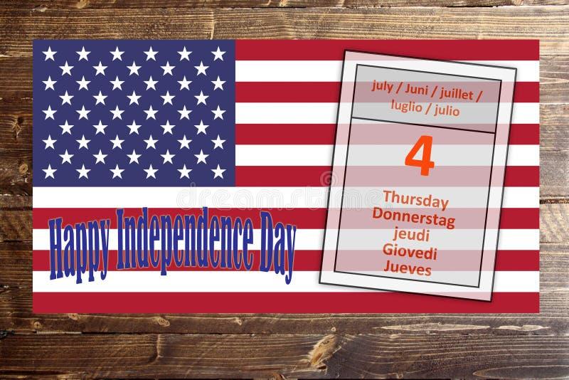 Quatrième de juillet, Jour de la Déclaration d'Indépendance Amérique, Etats-Unis image stock