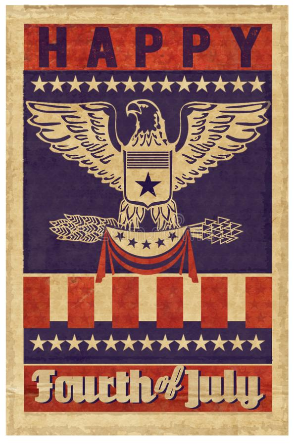 Quatrième heureux d'affiche de timbre de juillet illustration libre de droits