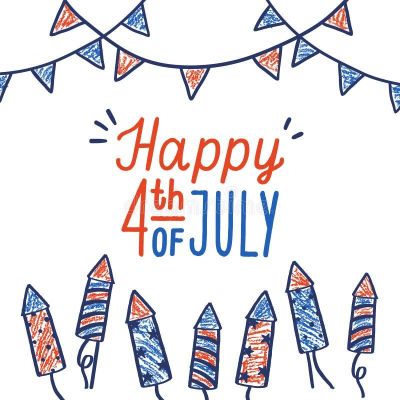 Quatrième heureux de carte de juillet illustration stock