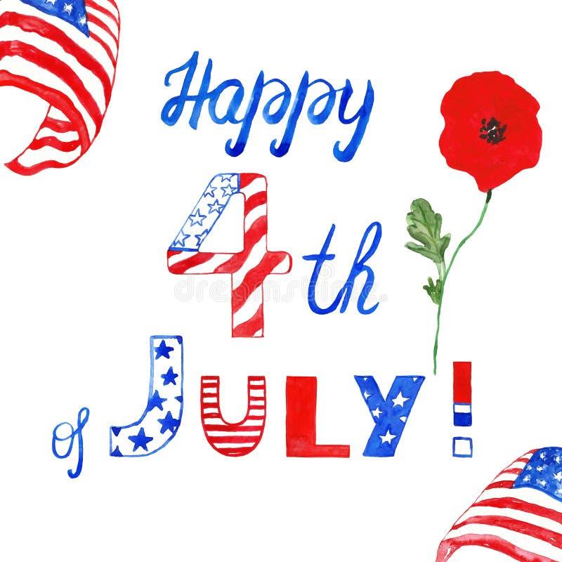 Quatrième heureux peint à la main d'aquarelle de la bannière de juillet Couleurs rouges, bleues et blanches de drapeau des USA Po illustration libre de droits