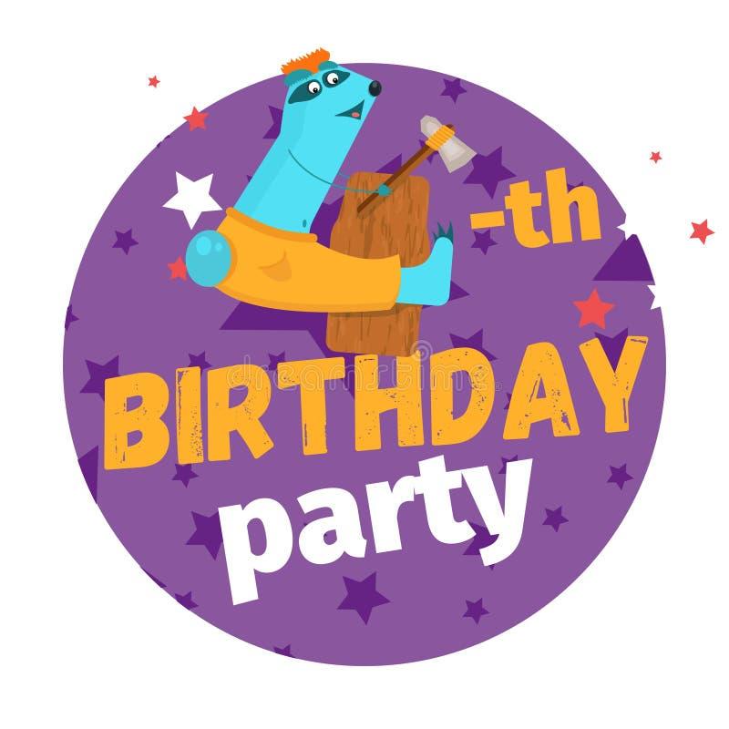Quatrième ou 4ème carte de voeux ou carte postale de fête d'anniversaire cartoon illustration stock