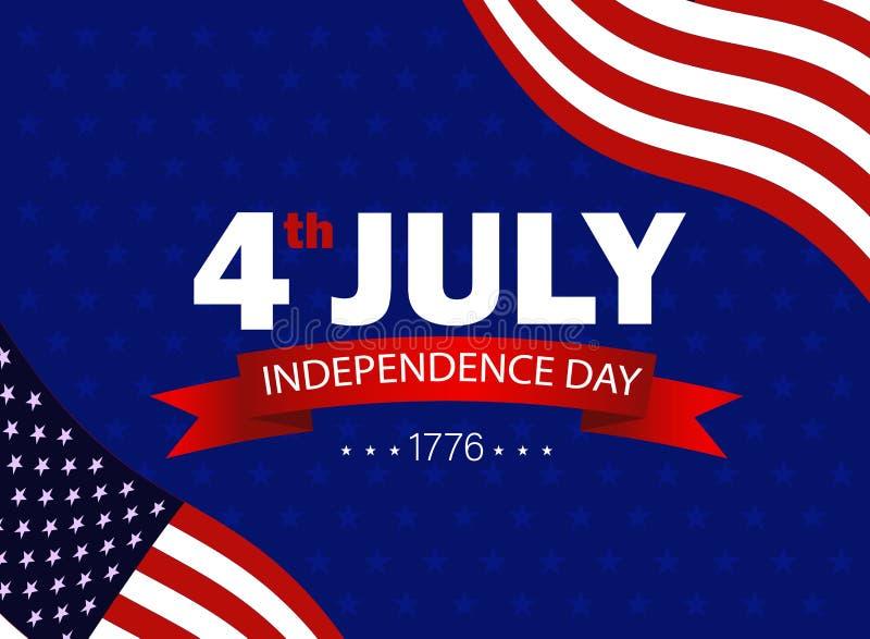 Quatri?me du Jour de la D?claration d'Ind?pendance de juillet des Etats-Unis Drapeau des Etats-Unis ondulant sur le fond bleu ave illustration libre de droits