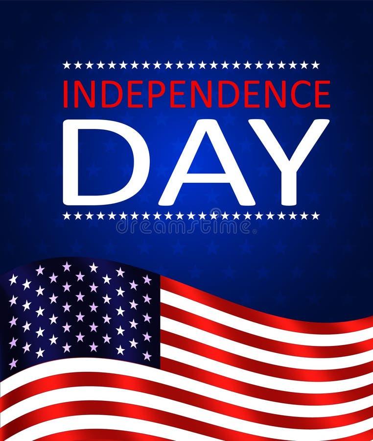 Quatri?me du Jour de la D?claration d'Ind?pendance de juillet des Etats-Unis Drapeau des Etats-Unis ondulant sur le fond bleu ave illustration stock
