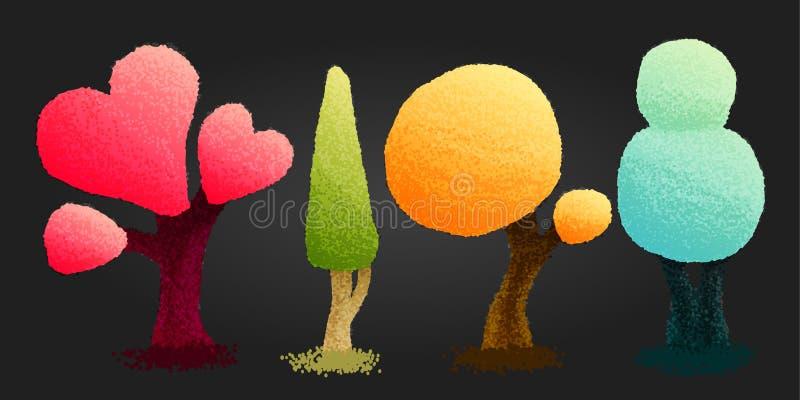 Quatro árvores brilhantes no estilo dos desenhos animados Ilustração da forma ilustração stock