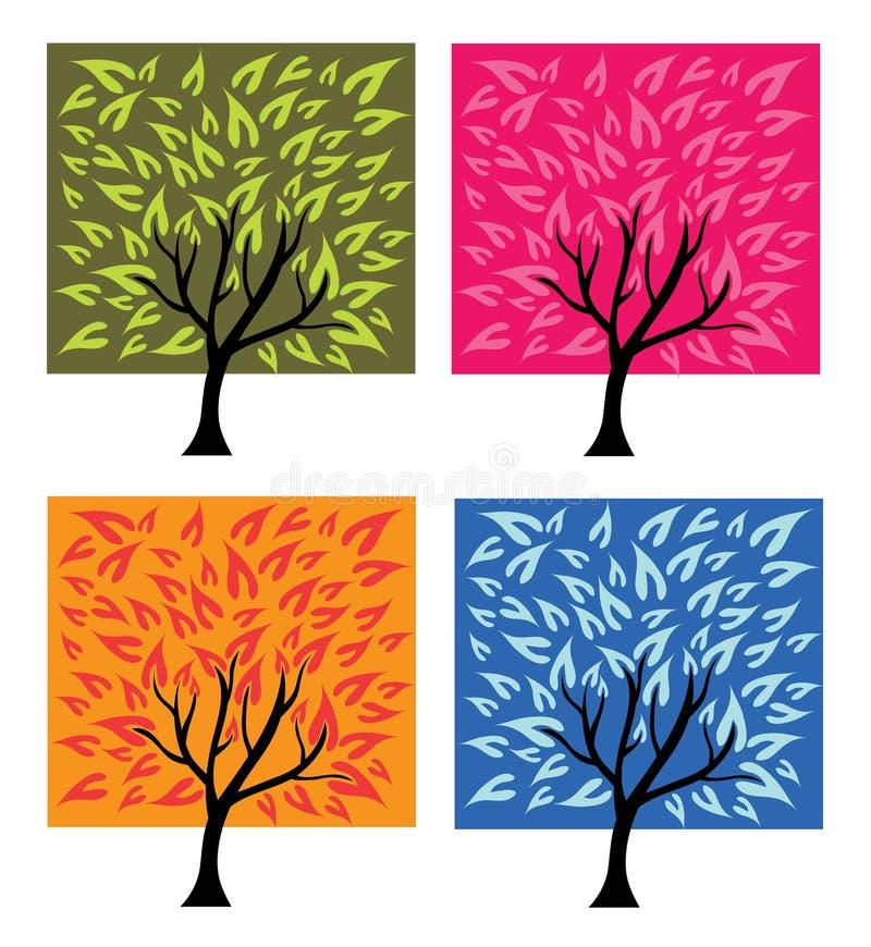 Quatro árvores da estação ilustração stock