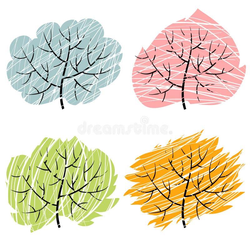 Quatro árvores da estação, ilustração de árvores do abctract ilustração royalty free
