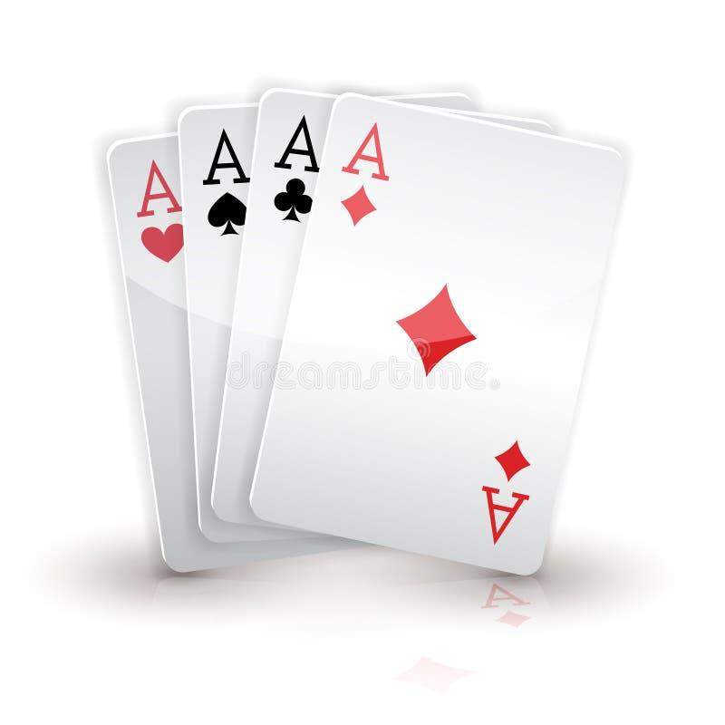 Quatro ás. Cartões no branco ilustração do vetor