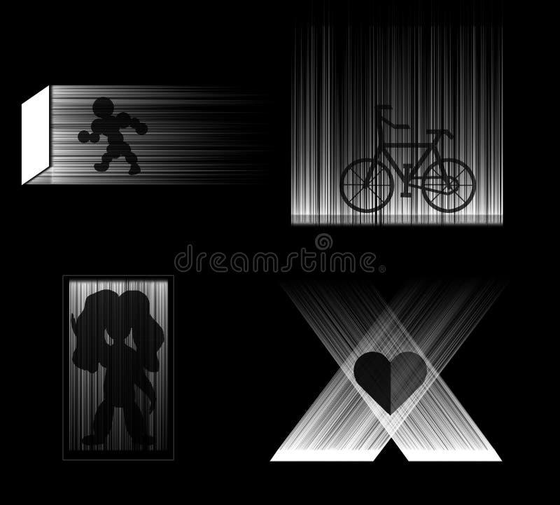 Quatro ícones fotografia de stock royalty free