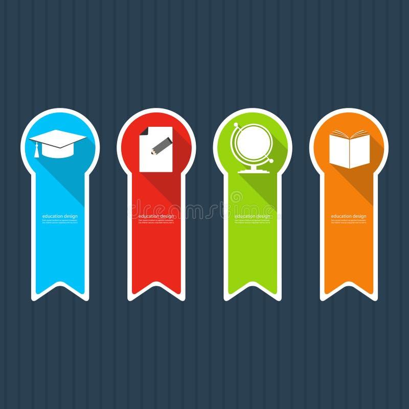 Quatro ícones coloridos que descrevem artigos para a educação ilustração stock