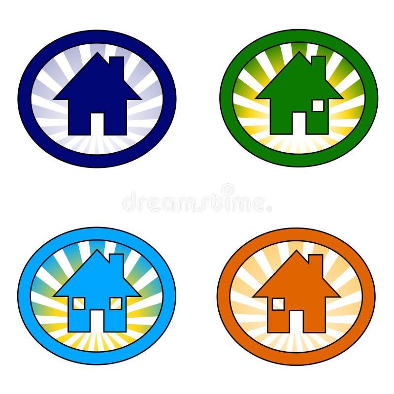 Quatro ícones da casa ajustados ilustração stock