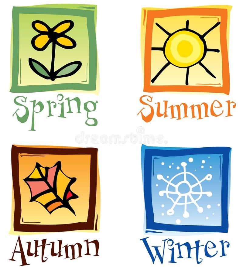 Quatro ícones das estações ilustração royalty free