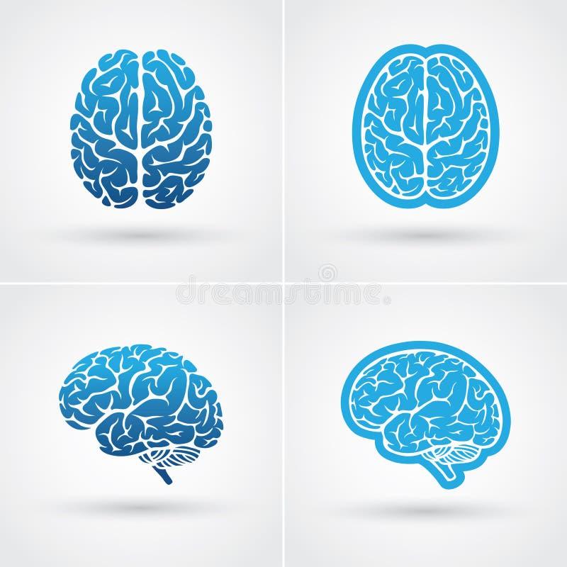 Quatro ícones do cérebro ilustração royalty free