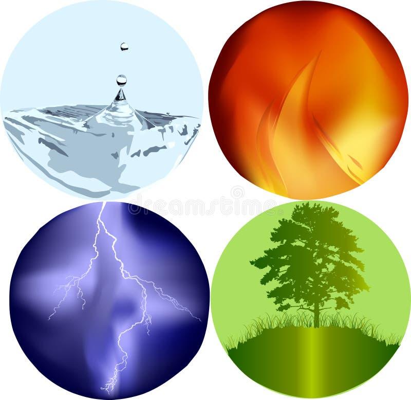 Quatro ícones dos elementos ilustração stock