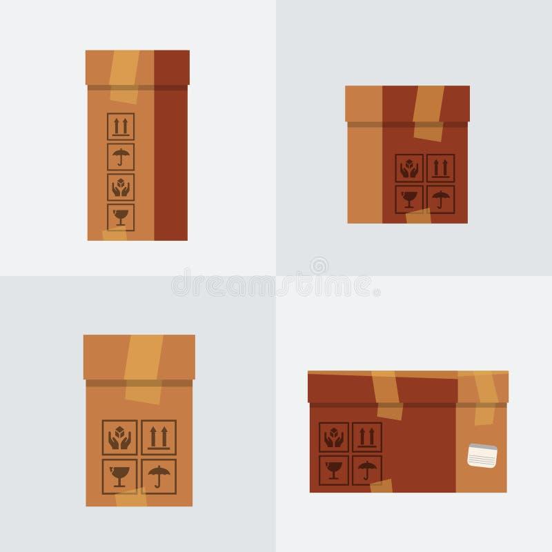 Quatro ícones lisos das caixas ajustados Vetor foto de stock