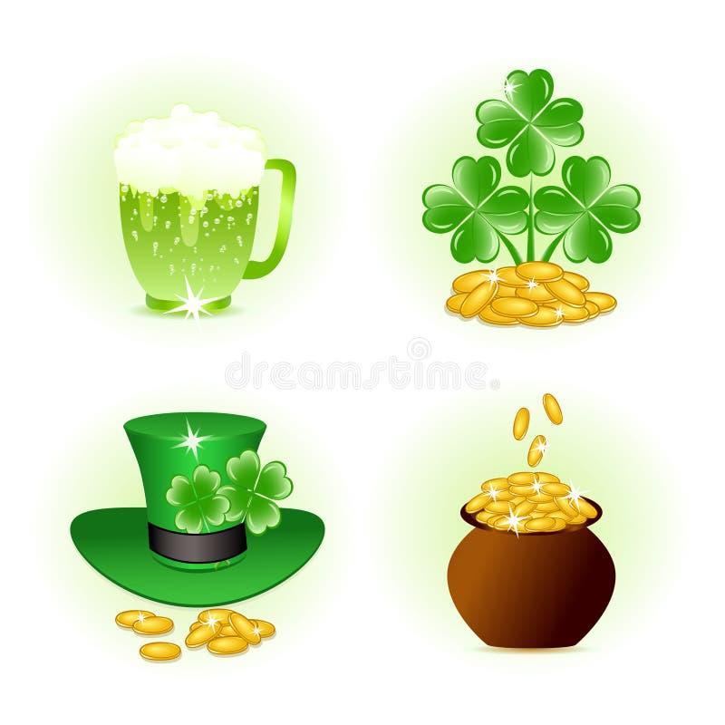 Quatro ícones lustrosos para a celebração do dia de patrick ilustração royalty free