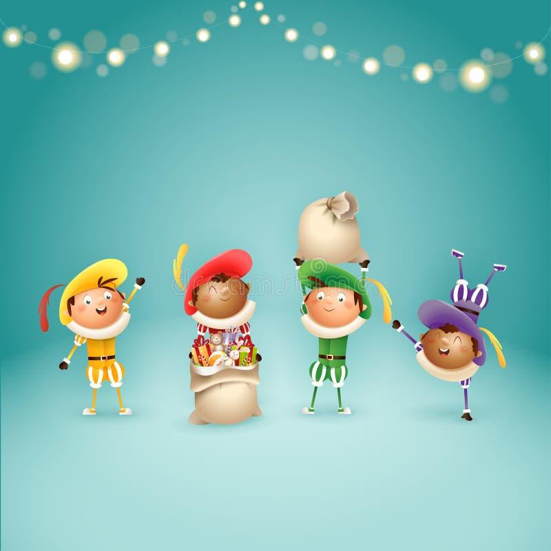 Quatro ajudantes holandeses Zwart Piets de Sinterklaas - comemore feriados - ilustração do vetor no fundo de turquesa com luzes ilustração stock