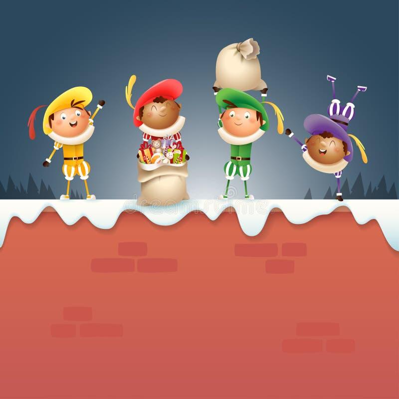 Quatro ajudantes holandeses Zwart Piets de Sinterklaas - comemore feriados na parede nevado - ilustração do vetor ilustração stock