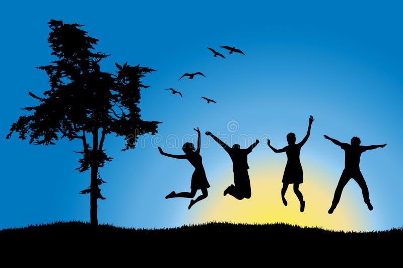 Quatro amigos que saltam no campo perto da árvore ilustração do vetor