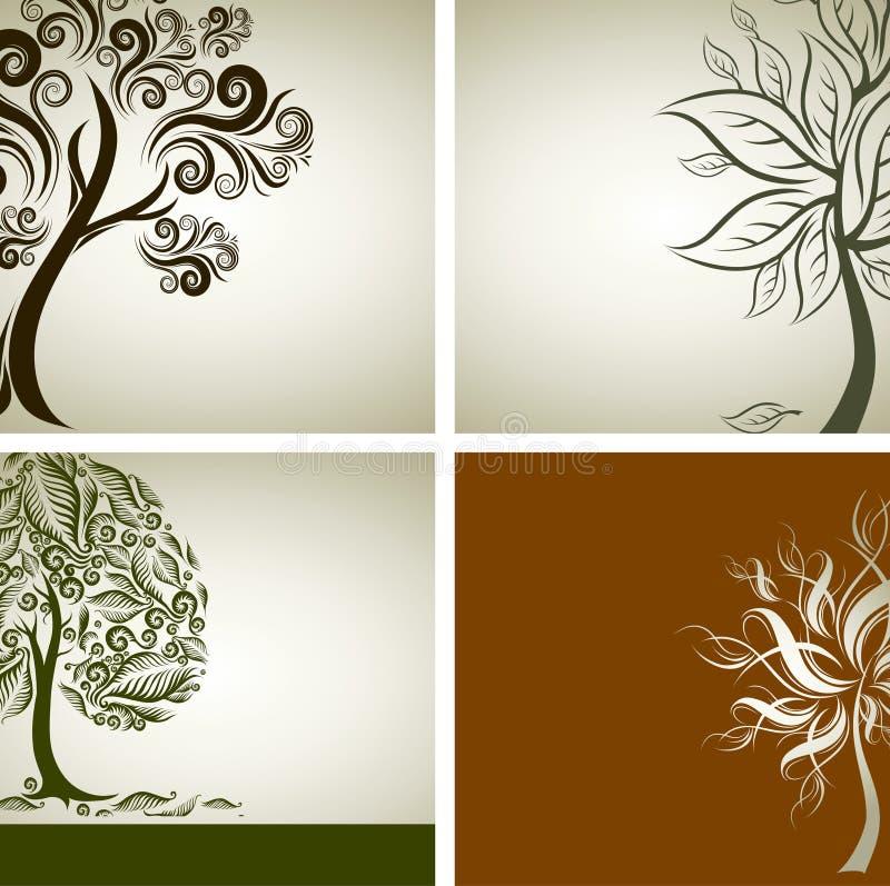 Quatro amostras do vetor de projeto com árvore decorativa ilustração stock