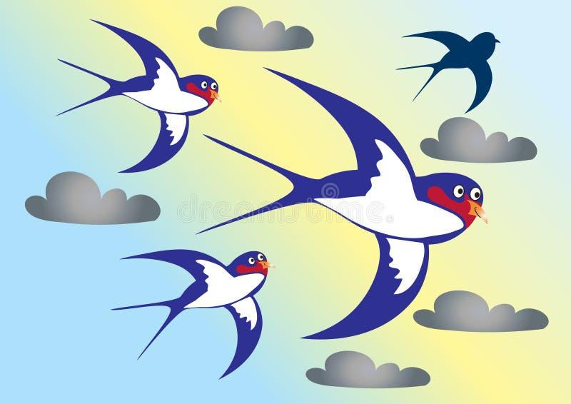 Quatro andorinhas ilustração do vetor