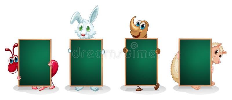 Quatro animais com os quadros indicadores verdes vazios ilustração do vetor