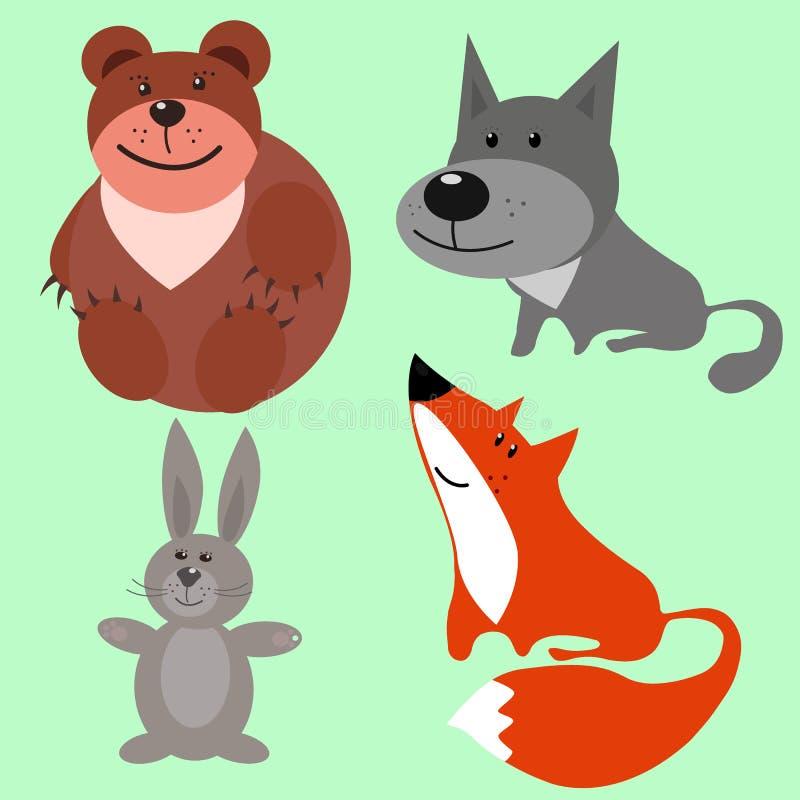 Quatro animais da floresta em um fundo uniforme fotografia de stock