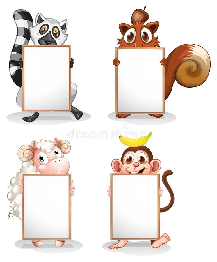 Quatro animais diferentes com whiteboards vazios ilustração stock