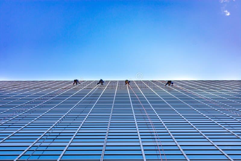 Quatro arruelas de janela que limpam no lado de um arranha-céus que olha acima fotografia de stock