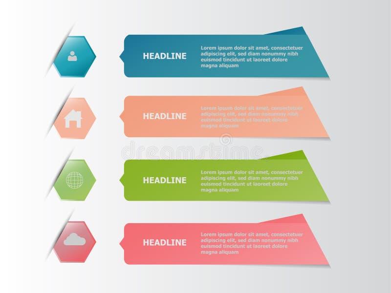 Quatro bandeira infographic colorida, conceito do negócio ilustração stock