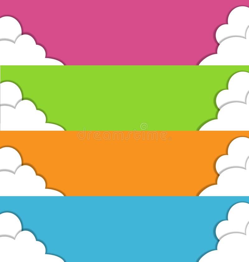 Quatro bandeiras coloridos da mola com nuvens ilustração do vetor