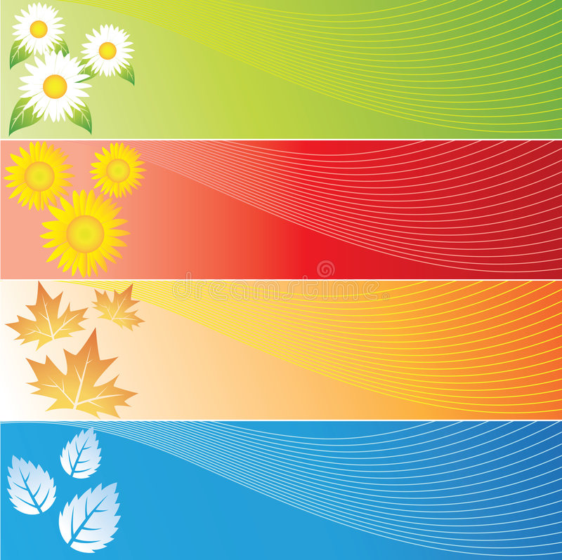 Quatro bandeiras das estações ilustração royalty free