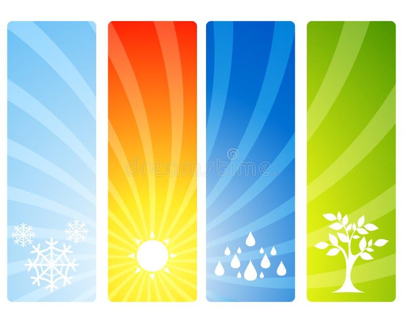 Quatro bandeiras das estações ilustração stock