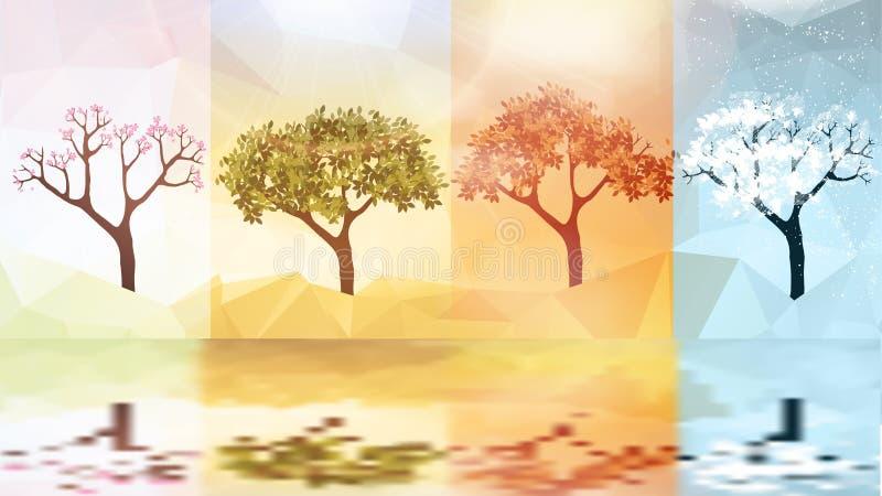 Quatro bandeiras das estações com árvores abstratas - ilustração do vetor ilustração royalty free