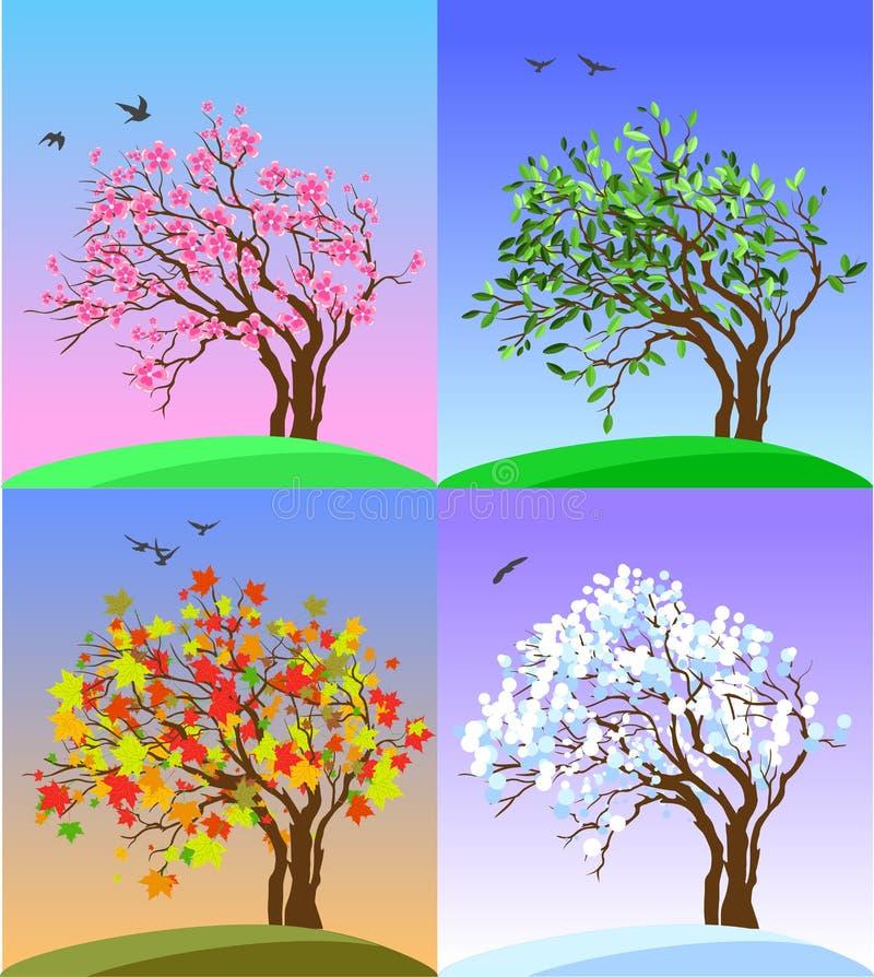 Quatro bandeiras das estações com árvores e os montes abstratos - ilustração do vetor ilustração royalty free