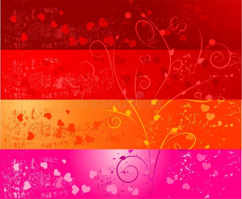 Quatro bandeiras do grunge com corações e florais ilustração stock