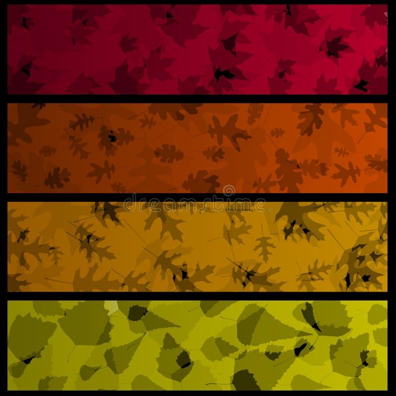 Quatro bandeiras horizontais do outono ilustração royalty free