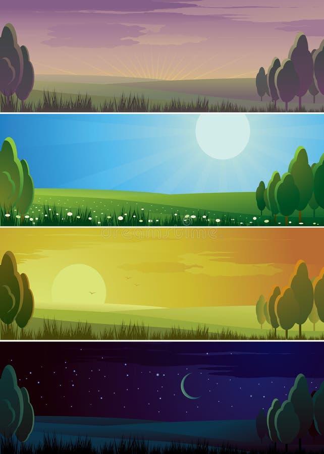 Quatro bandeiras que mostram o ciclo do dia. ilustração do vetor
