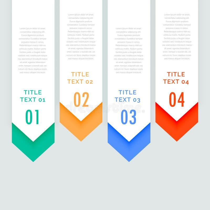 Quatro bandeiras verticais infographic das etapas com a seta que vai para baixo ilustração stock