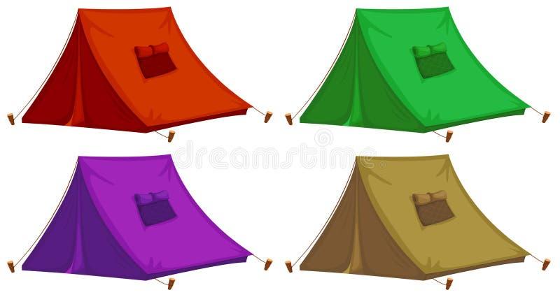 Quatro barracas coloridas ilustração stock
